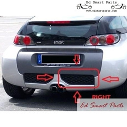 Smart roadster BRABUS section de calandre arrière couvrant l'échappement à gauche ou à droite